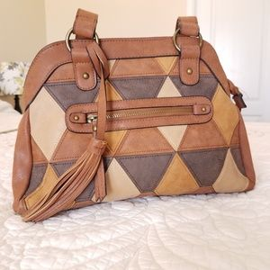 Bueno Patchwork Bag Brown/Tan Faux Leather